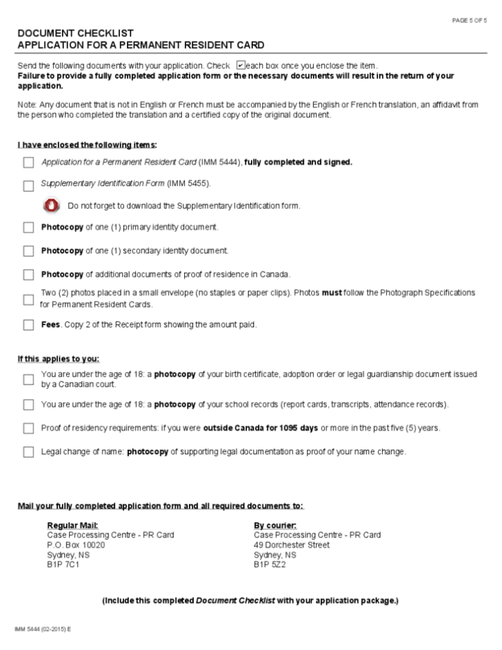 Application fee for permanent resident card