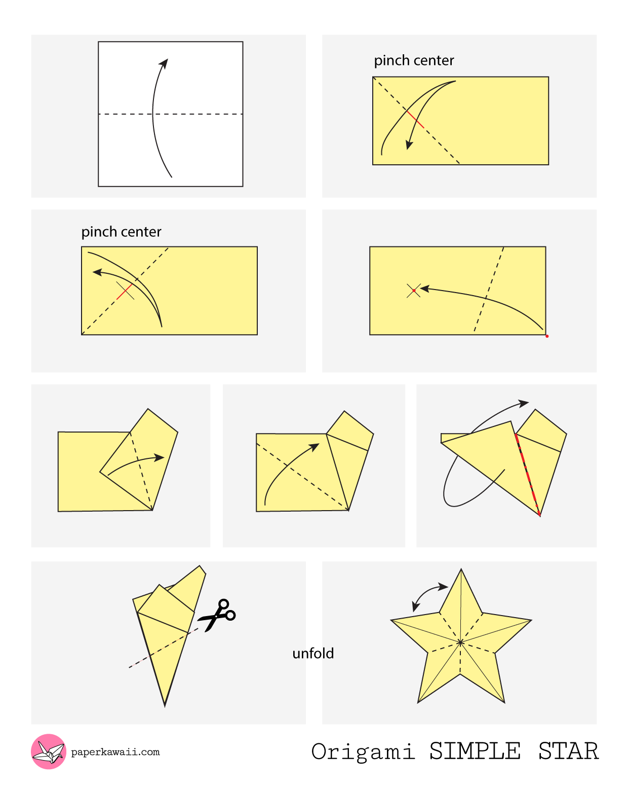 easy origami star instructions