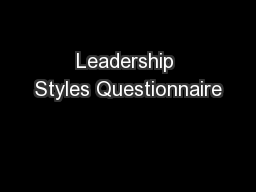 Leadership styles questionnaire for students pdf